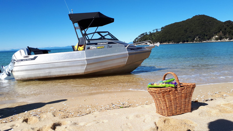 This is Fred. Our boat for hire in the Abel Tasman area. Hull: Stabicraft 1650 Engine: Honda 90hp 4 Stroke