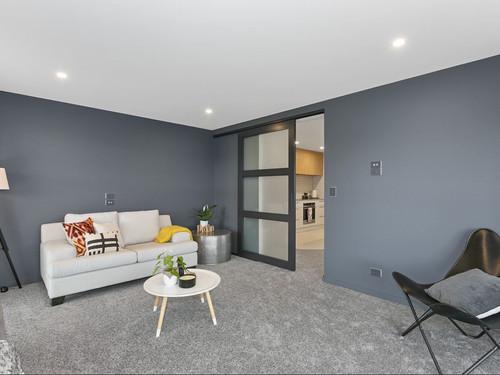 Lounge area with sliding door