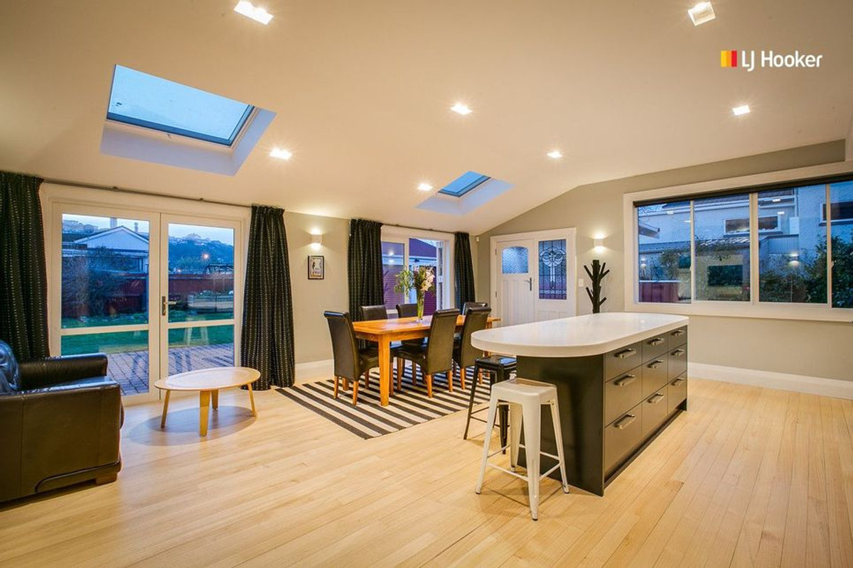Skylights and lighting make the space lighter and brighter