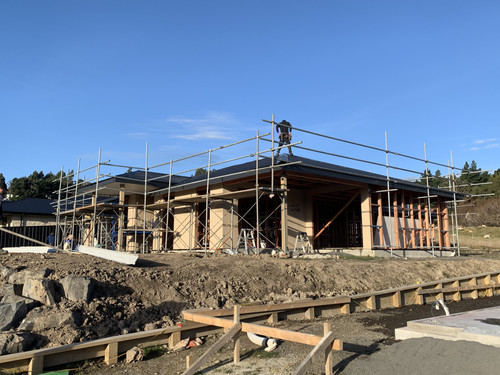 Scaffolding is up and the roof is getting put on