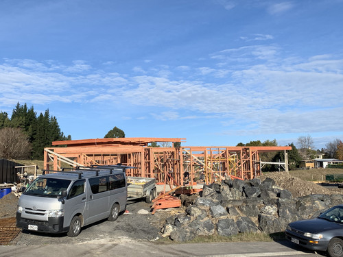 The frame of the house is up