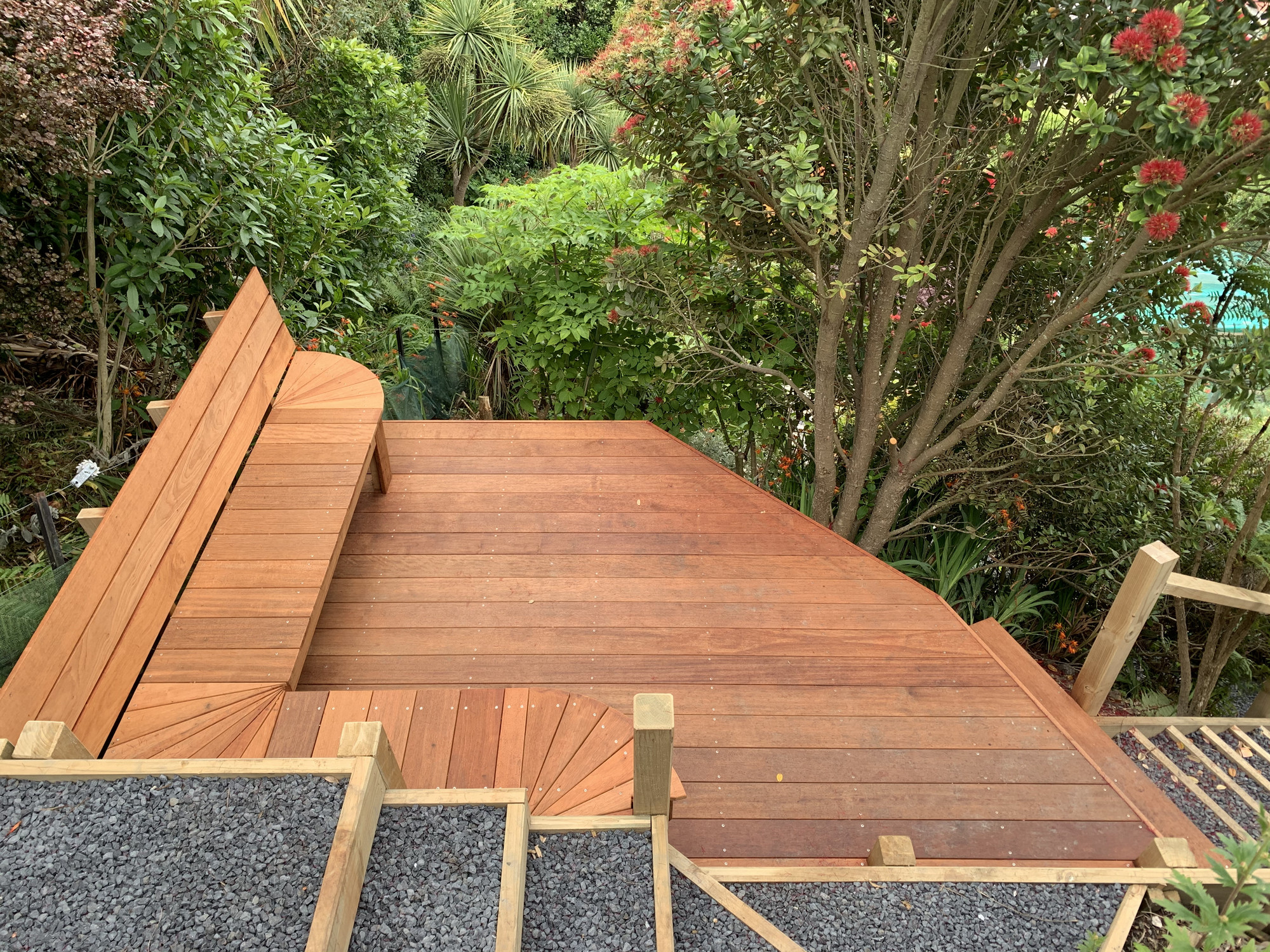 Outdoor deck area by Outlet Homes