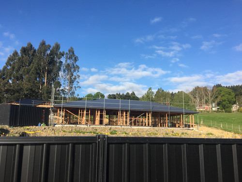 The roof has gone on at Mary and Logan's new build on Abbeyfield Close in Dunedin