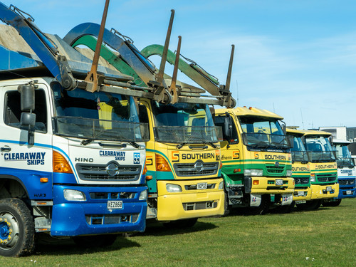 Southern Transport and Clearaway Skips lined up at Teretonga Park Raceway