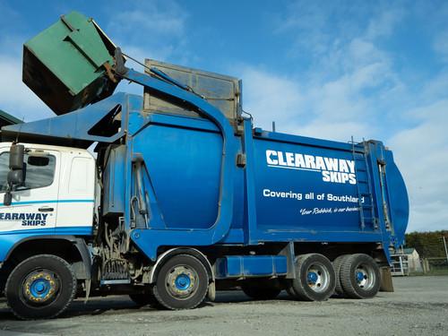 Clearaway Skips Front load Truck emptying Mini and Maxi Skip Bins