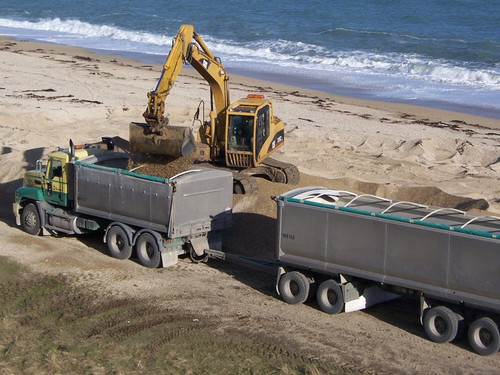 Southern Transport Truck and Trailer getting loaded at the beach