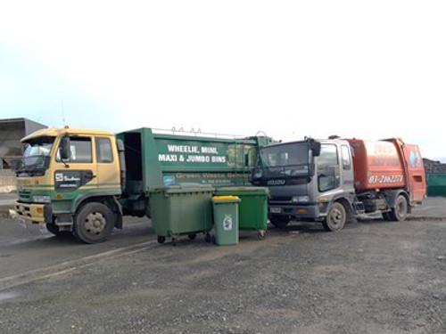 Joes Refuse and Southern Transport waste wheelie Bin Trucks lined up