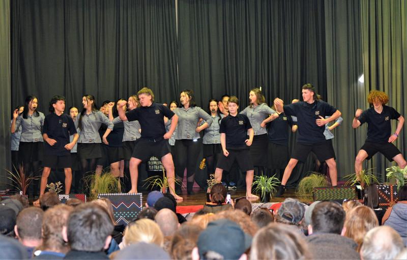 Students performing Kapa Haka at Tokomairiro High School.