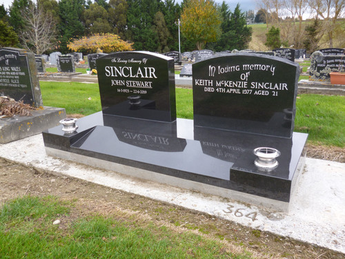 Double granite base covering two plots