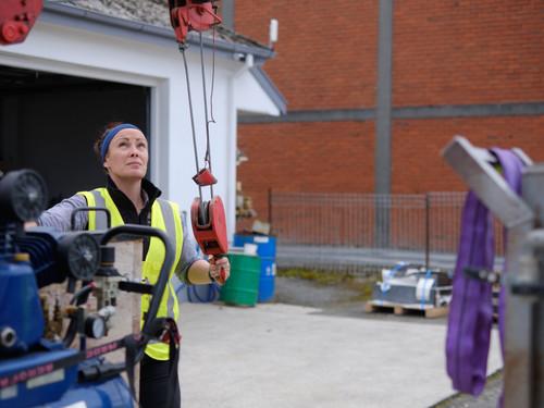 Jenna with the crane