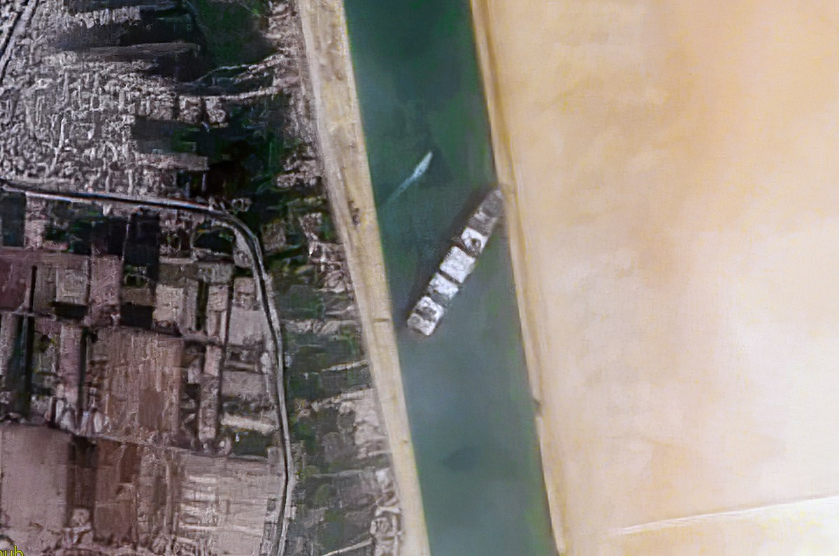 Container Ship the 'Evergreen' stuck in Suez canal and disrupting shipments around the world