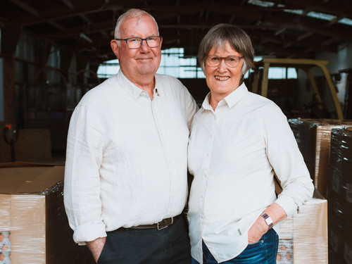 David and Linda in the packing shed