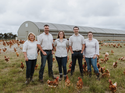 Tim, Jess and the Craig family with the Bowalley Free Range chickens