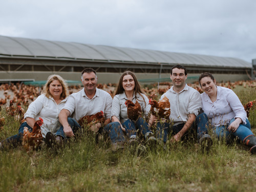 Brent and Bridget with their children, Anna and Tim, with Tim's partner Jess and the chickens